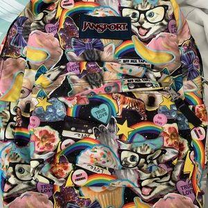 Jansport Backpack Cat BFF Galaxy Rainbow Print